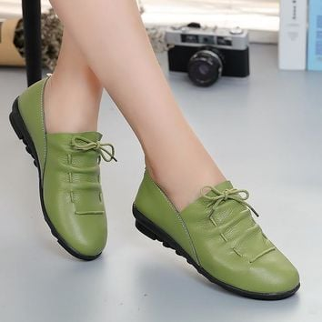 Women shoes 2018 new arrival spring lace-up pleated genuine leather flats shoes woman rubber party female shoes tenis feminino