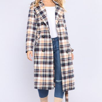 Chelsea Plaid Trench - Blue/Multi