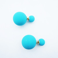 Teal Double Pearl Earrings