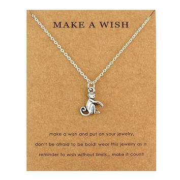 Monkey Butterfly Pendants Necklaces Music Note Treble Clef Cancer Ribbon Wings Women Men Unisex Fashion Jewelry Friendship Gift