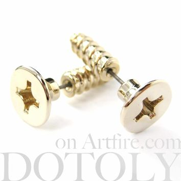 Fake Gauge Earrings: Realistic Screw Shaped Faux Plug Stud Earrings in Shiny Gold