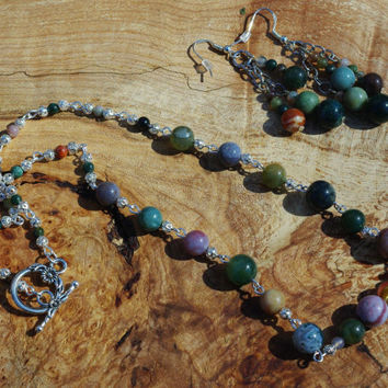 Indian Agate Jewellery Set ~ Semi Precious Stones ~ Boho Jewellery ~ Green Stone Earring ~ Hippie Style Necklace ~ Bohemian Wedding