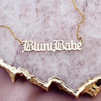 Blunt Babe Gold Nameplate Necklace
