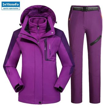 Outdoor Moutain Women Waterproof Skiing Ski-wear jacket Suits Snowboard jacket Ski suit Large Size Snow jackets Plus Size