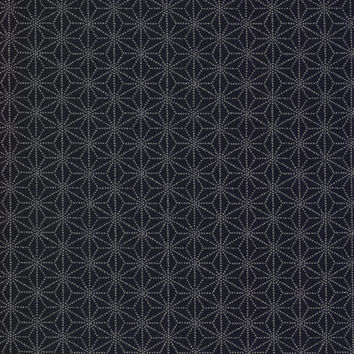 Hemp Leaf Sashiko-Look Japanese Indigo Cotton Quilting Fabric JAP1310-11