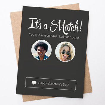 Tinder Card - It's A Match Valentines Day - Printable Custom Made to Order