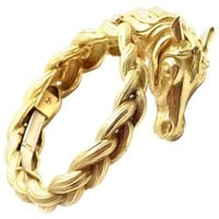 Hermes Paris Sculpted Horse Yellow Gold Bangle Bracelet