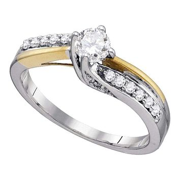 14k White Gold Women's Round Diamond Solitaire 2-Tone Bridal Wedding Engagement Ring 1/2 Cttw - FREE Shipping (USA/CAN)