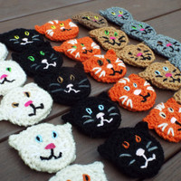 Cat Pins, Cat Party favors, Crochet Pins, Cat Lover, Cat Birthday Party Favors, Kitten Pins, Kitty Cat Favors, Stocking Stuffer, Cat Theme