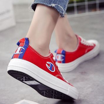 Champion Canvas flat shoes sports shoes red
