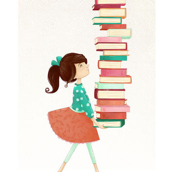 Library Girl Canvas Print by Stephanie Fizer Coleman