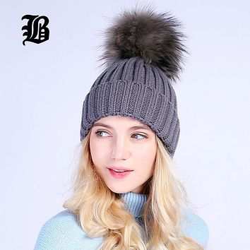 [FLB] Gray Mink Fur Ball Cap Pom Poms Winter Hat For Women Girl 'S Wool Hat Knitted Cotton Beanies Caps Brand Thick Female Cap