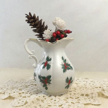 ON SALE - Lefton Holly Pitcher, Christmas Table Display, Vintage Holiday Kitchen Decor