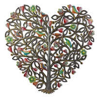 Heart Shaped Tree of Love Upcycled Handmade Metal Wall Hanging 23H