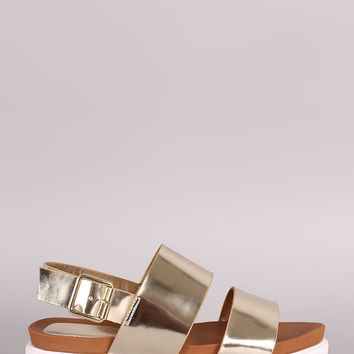 Bamboo Metallic Two Band Lug Sole Flatform Sandal