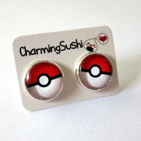 Pokeball Pokemon Earrings - Pokeball Earrings Videogame Earrings Game Earrings Pokeball under glass