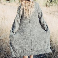 "the ""Weekender"" Boucle Duster Cardigan - Grey"