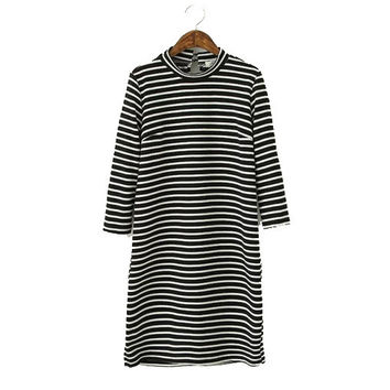 Stylish Round-neck Long Sleeve Stripes Print Casual Women's Fashion Dress One Piece Dress [4919021764]