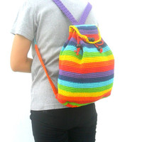 Hipster Backpack bohemian Woven backpack School Backpack Shoulder Bag Multi color rainbow backpack Bag Hippie Boho Hobo Art Bag Purse