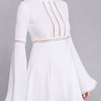 White Cut Out Lace Paneled Flared Sleeve Dress