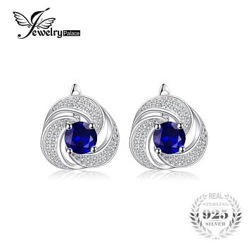 JewelryPalace luxury 2.9ct Created Sapphire Hoop Earrings 925 Sterling Silver Earrings For Women Fine Jewelry Brand New Gift