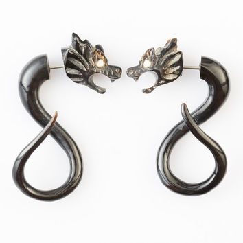 "Fake Gauge Earrings - Horn Tribal Earrings - Dragon Earrings Fake Piercing - Horn ""Dragons"" Earrings - NEW DESIGN"