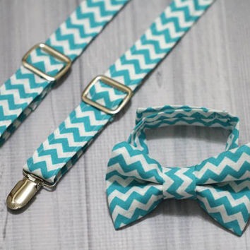 Suspender and Bow Tie Set Teal Blue Chevron. Ring bearer, Photo prop cake smash, wedding, church, Easter.