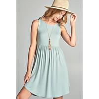Simple Spring Tank Style Dress - Sage - Ships Wednesday March 7th