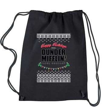 Happy Holidays from Dunder Mifflin Ugly Christmas Drawstring Backpack
