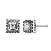 White Topaz with Crown Setting Stud Earrings in Sterling Silver