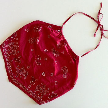 90's red bandana halter top size small