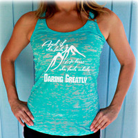 Womens Burnout Workout Tank Top. Gym Motivation. If She Fails She Fails While Daring Greatly. Cute Womens Workout Clothing. Running Tank Top