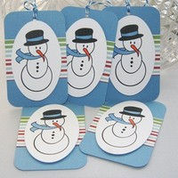 Hand Stamped Snowman Christmas Holiday Gift Tag Set of Five