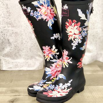 Joules Navy Floral Print Tall Rain Boots