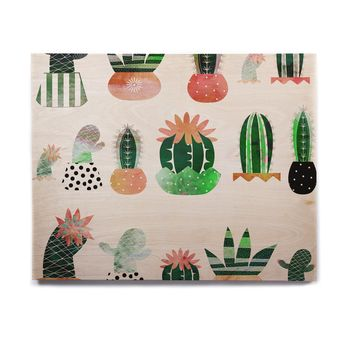 "Bruxamagica ""Cactus"" White Green Illustration Birchwood Wall Art"