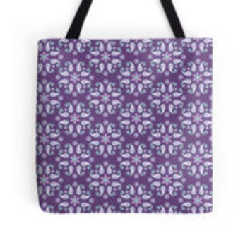 'Gorgeous Floral Paisley - Lavender' Tote Bag by pugmom4