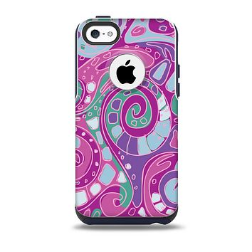 The Abstract Pink & Purple Vector Swirled Pattern Skin for the iPhone 5c OtterBox Commuter Case