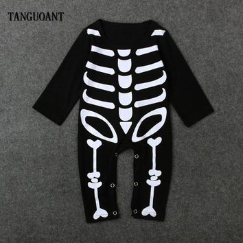 TANGUOANT Baby Girls Boys Halloween Rompers Newborn Kids Party Costume Festival Clothes Long Sheeve Skull Baby Romper