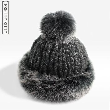 2016 new Year good quality beanie  knitted fur pompons winter Women's hat Modeled   fashion style female warm cap