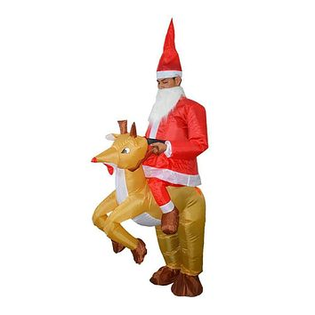 Inflatable Santa Claus on a Reindeer Ride Costume