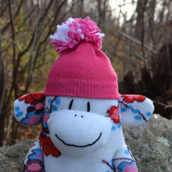 sock monkey doll, FREE HEART or MONOGRAM patch, sock monkey, sock monkey plush, blue sock monkey, green sock monkey, plush monkey, monkey