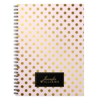 Pink and Faux Gold Foil Polka Dots Spiral Notebook