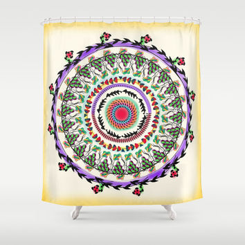 Rustic shower curtain, Lavender shower curtain, boho shower curtain, mandala bathroom decor, bathroom shower curtains, fabric shower curtain
