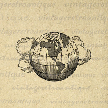 Digital Printable Earth Globe with Clouds Download Planet World Image Graphic Vintage Clip Art for Transfers Printing etc HQ 300dpi No.2972