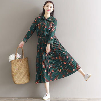 Japanese Chiffon Green Tunic Long Dress With Bow For Women Floral Pleated Large Size Maxi Party Dresses Vintage Boho Vestidos