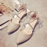 Breathable Pointed Toe Buckle Flat Shoes