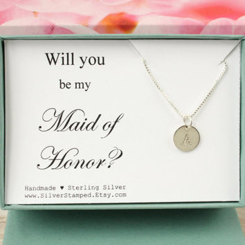 Will you be my Maid of Honor Invite sterling silver initial necklace personalized gift for Maid of Honor jewelry gift box wedding party gift
