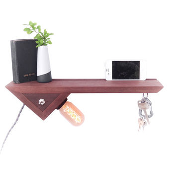 Catch-All Floating Shelf With Edison Lamp