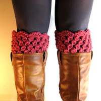 Boot Cuffs Pink Lace Boot Toppers Rose Bootcuffs Crochet Leg Warmers Sock Tops