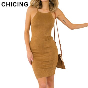CHICING Sexy Lace up Suede Bodycon Mini Dresses New 2016 Boho Crisscross Slip Halter Backless Summer Sheath Wrap Dress B1604042